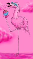 Flamingos Eat Pink, illustration for Wacky... But True! magazine