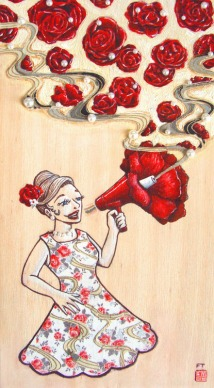 Floral Megaphone - submission to Illustrator Australia's 9x5 exhibition, paint and collage on plywood